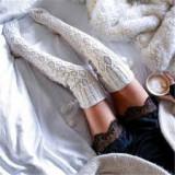 Sosete Ciorapi Iarna Stockings Peste Genunchi Knee Sox Crosetate Ciucuri, Alb, Mov
