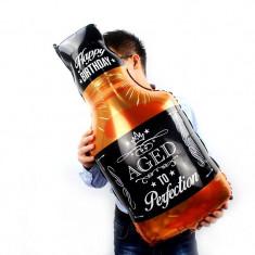 Balon folie sticla Whisky aniversara, mesaj Happy Birthday, 90x45 cm