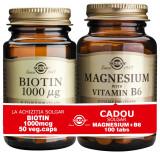Solgar Pachet Biotin 1000mcg 50 capsule vegetale + Magnesium cu B6 100 tablete GRATIS