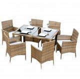Set de grădină, masă+6 scaune, ratan, miere/crem, GARDEN TK-186614