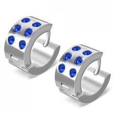 Cercei verigă din oţel inoxidabil - argintii lucioşi, zirconiu albastru