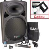 Boxa portabila activa, 800W , BT, SD, USB, karaoke, 2 microfoane, husa +cadou ceas