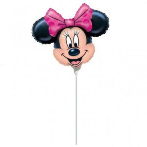 Balon folie metalizata minishape Minnie Mouse fundita roz