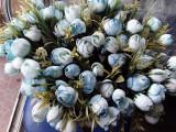 Buchet flori artificiale - BOBOCI BUJORI, H 30 cm   bleo- turquoise