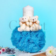 Lumanare Globulet Tulle Double Bear Baby Blue BB-016, GD Art Baby