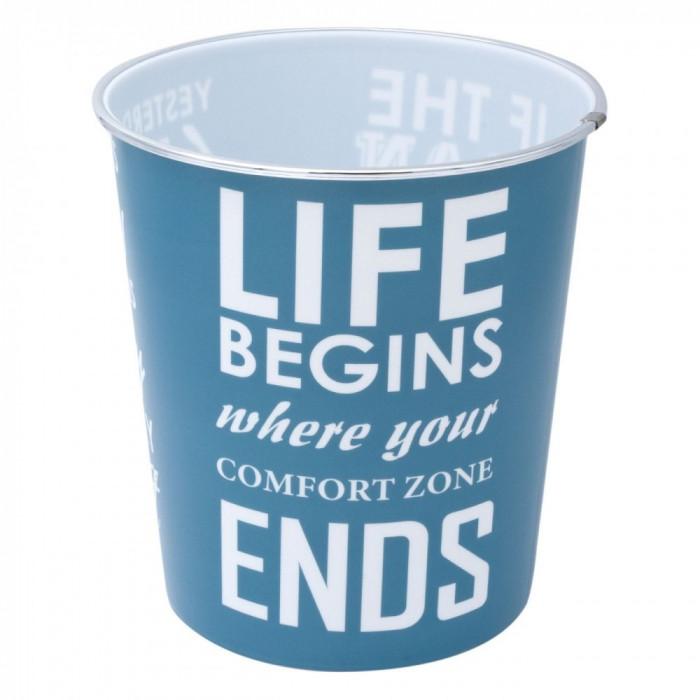 Cos de gunoi pentru birou, model cu mesaj, 22×23 cm, alb/albastru