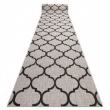 Traversa sisal Floorlux model 20608 marocani trellis argintiu si negru, 80 cm