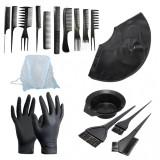 Set kit frizerie coafor vopsit parul cu bol 3 pensule manusi de unica folosinta