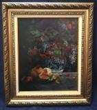 Tablou Natura statica Vas cu struguri și fructe ulei panza inramat 57x49cm