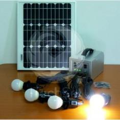 Cumpara ieftin Kit fotovoltaic complet cu LED-uri pentru cabane 15W/4LED/12Ah + incarcator...