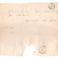 Romania 1860(aprox.) - plic prefilatelic/oficial Focsani-Iasi