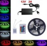 Banda rola LED 55 metri- LEDURI SMD 5050 RGB - 300 led telecomanda, alimentare