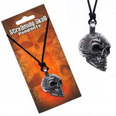 Colier din șnur - pandantiv craniu, ornamente