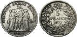 Moneda argint 5 francs 1877 Hercule, Europa