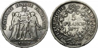 Moneda argint 5 francs 1877 Hercule foto