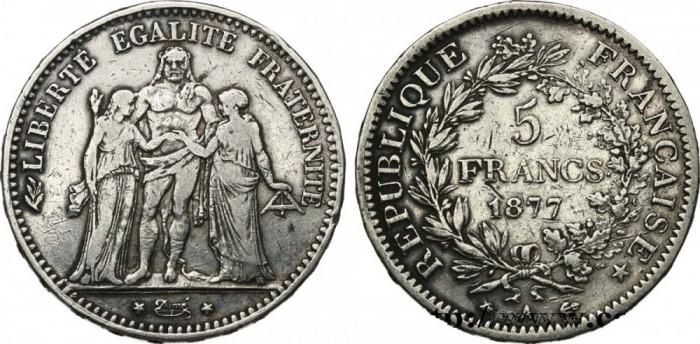 Moneda argint 5 francs 1877 Hercule