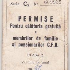 bnk  div CFR - Permise pentru calatorie gratuita - cls 2 - 1967
