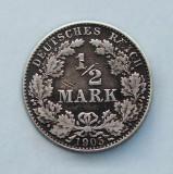 GERMANIA  -  ½ Mark 1905 D  - Argint 2.77 g.