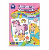 Cumpara ieftin Carte de colorat cu activitati in limba engleza si abtibilduri - Unicorni, sirene si altele, orchard toys
