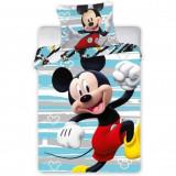 Set lenjerie pat copii Mickey Run 100x135 + 40x60 SunCity FRA586646, Albastru