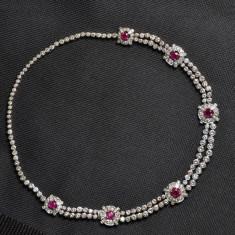 Colier din aur[platina] cu diamante si rubine