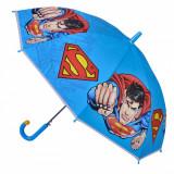Umbrela pentru copii, model superman, albastru, 48×85 cm
