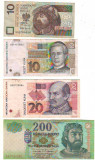 SV * LOT BANCNOTE POLONIA 10 ZL + CROATIA 10 - 20 KUNA + UNGARIA 200 FORINT   VF