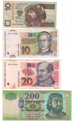 SV * LOT BANCNOTE POLONIA 10 ZL + CROATIA 10 - 20 KUNA + UNGARIA 200 FORINT VF foto