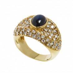Inel aur galben 18 K, safir cabochon si 78 diamante, 1.95 ct, 18k