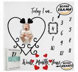 Milestone Blanket Paturica Din Bumbac Organic Pentru Fotografii Si Amintiri Nou Nascuti Si Bebelusi Model Inimioare