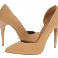 Pantofi casual eleganti piele femei Clarette Louisa bej 932128, 35, 36, Cu toc