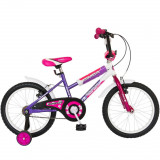 Bicicleta Copii 18 Inch Bimba, Bonanza, G1802B/2, Cadru Otel, Roti Ajutatoare, Varsta 6-8 Ani, Fucsia/Violet