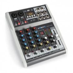 Vonyx VMM-K402, pult de mixaj cu 4 canale, bluetooth, interfață audio USB