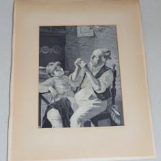 Scena de gen tapiserie veche secolul 19