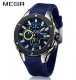 Cumpara ieftin Ceas Megir 8135 - Sport Cronograf Albastru Curea Silicon