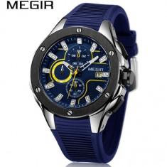 Ceas Megir 8135 - Sport Cronograf Albastru Curea Silicon