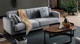 Canapea extensibila cu lada de depozitare, tapitata cu stofa, 3 locuri Loft Gri, l228xA88,5xH80 cm