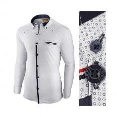 Camasa pentru barbati alba flex fit elastica casual cu guler genesis