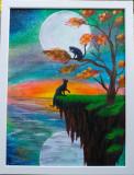"Tablou pictat manual pictura acrilica pisici ""Black Cats"""