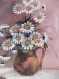 Tablou vechi – cană cu flori, nesemnat, pictură în ulei, Realism