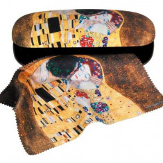 Etui cu textil si protectie ochelari, Klimt Sarutul
