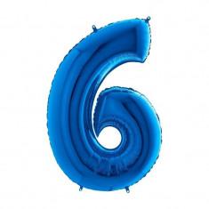 Balon folie cifra mare, albastru metalizat, 35 cm, pentru aniversari model model 6