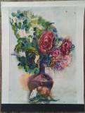 Vaza cu flori// acuarela pe hartie, nesemnata, Peisaje, Avangardism