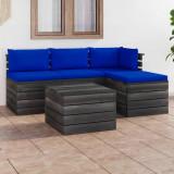 VidaXL Set mobilier grădină paleți cu perne, 5 piese, lemn masiv de pin