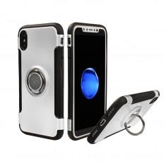 Husa telefon, pentru iPhone XSMax, argintie, cu inel metalic