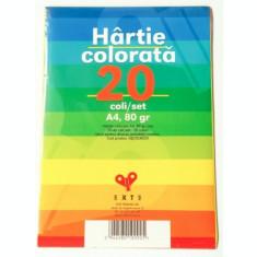 Hartie colorata A4, 10 culori, 80 gr, 20 coli/set Exte
