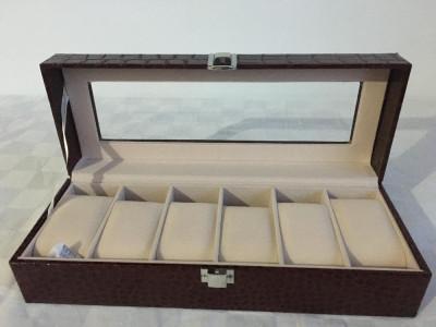 Cutie Caseta Depozitare pentru 6 Ceas uri – piele de sarpe. SIGLAT! foto