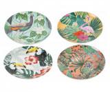 Set 4 farfurii pentru desert Tropicana, Villa D'Este Home Tivoli, portelan, multicolor - Villa D'Este Home Tivoli, Multicolor
