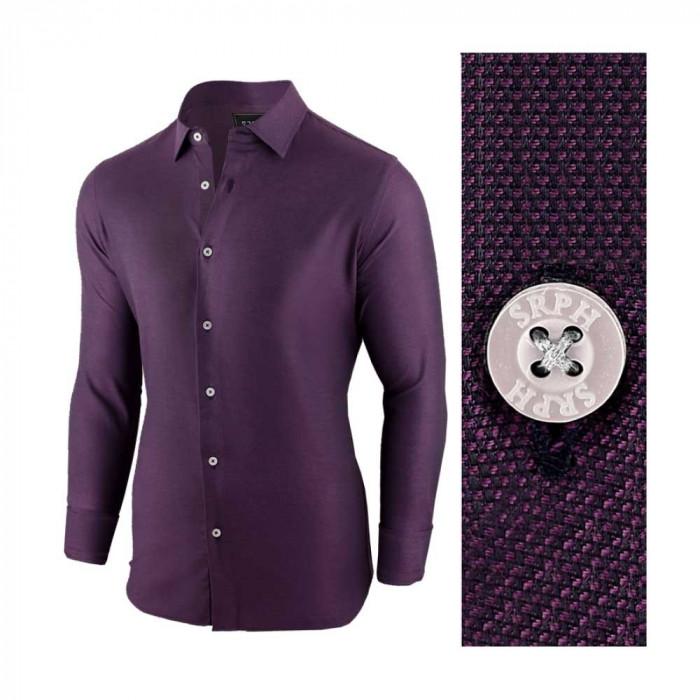 Camasa pentru barbati mov regular fit elastica casual cu guler victory