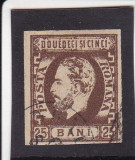 1871/72 LP 33 CAROL I BARBA NEDANTELAT 25 BANI BRUN STAMPILAT POINCON L.PASCANU